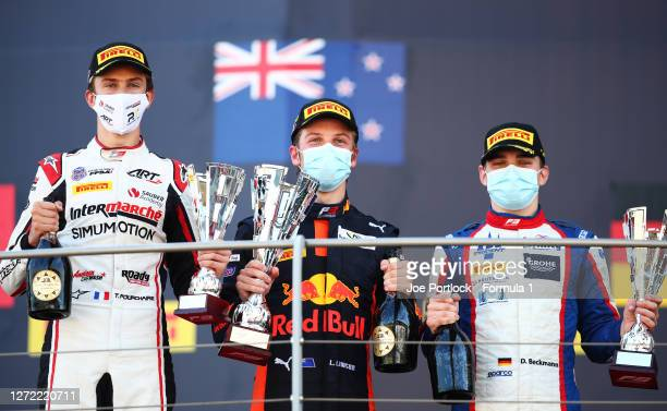 Race winner Liam Lawson of New Zealand and Hitech Grand Prix, second placed David Beckmann of Germany and Trident and third placed Theo Pourchaire of...