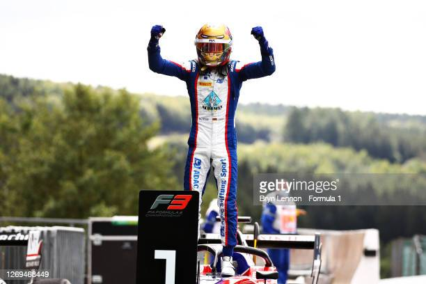 Race winner Lirim Zendeli of Germany and Trident celebrates in parc ferme during the first race of the Formula 3 Championship at Circuit de...
