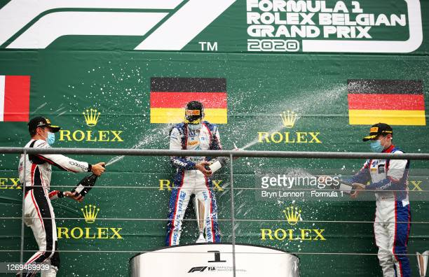 Race winner Lirim Zendeli of Germany and Trident, second placed Theo Pourchaire of France and ART Grand Prix and third placed David Beckmann of...