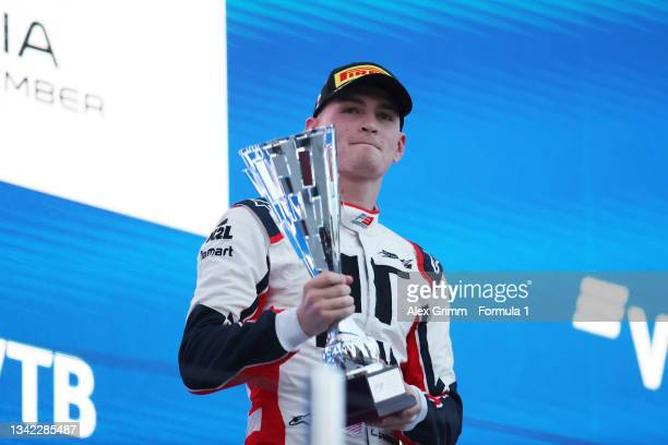 Race winner Logan Sargeant of United States and Charouz Racing System celebrates on the podium during race one of Round 7:Sochi of the Formula 3...