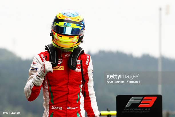 Race winner Logan Sargeant of United States and Prema Racing celebrates in parc ferme during race two of the Formula 3 Championship at Circuit de...