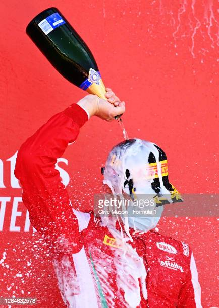 Race winner Logan Sargeant of United States and Prema Racing celebrates on the podium during race one of the Formula 3 Championship at Silverstone on...