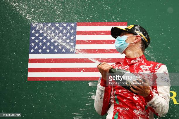 Race winner Logan Sargeant of United States and Prema Racing celebrates on the podium during race two of the Formula 3 Championship at Circuit de...