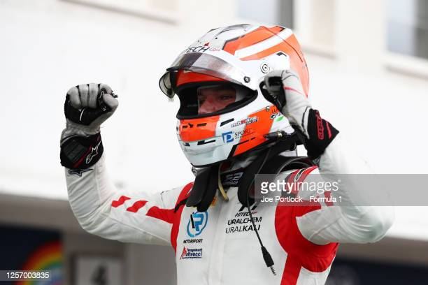 Race winner Luca Ghiotto of Italy and Hitech Grand Prix celebrates in parc ferme during the sprint race of the Formula 2 Championship at Hungaroring...