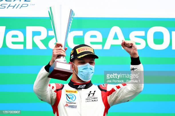 Race winner Luca Ghiotto of Italy and Hitech Grand Prix celebrates on the podium during the sprint race of the Formula 2 Championship at Hungaroring...