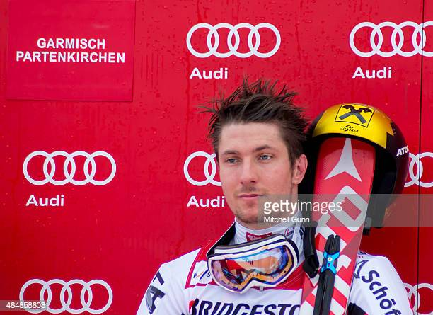 Race winner Marcel Hirscher of Austria on the podium for the Audi FIS Alpine Ski World Cup giant slalom race on March 1 2015 in GarmischPartenkirchen...