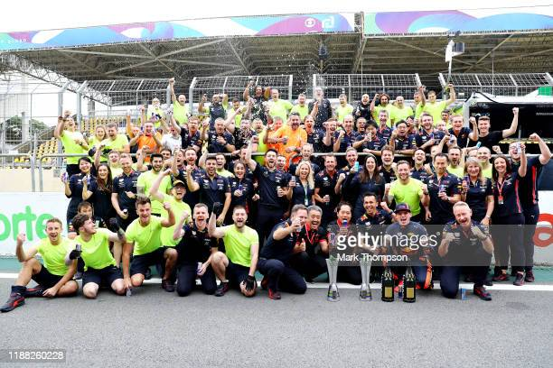 Race winner Max Verstappen of Netherlands and Red Bull Racing and his team celebrate after the F1 Grand Prix of Brazil at Autodromo Jose Carlos Pace...