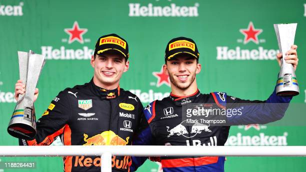 Race winner Max Verstappen of Netherlands and Red Bull Racing and second placed Pierre Gasly of France and Scuderia Toro Rosso celebrate on the...