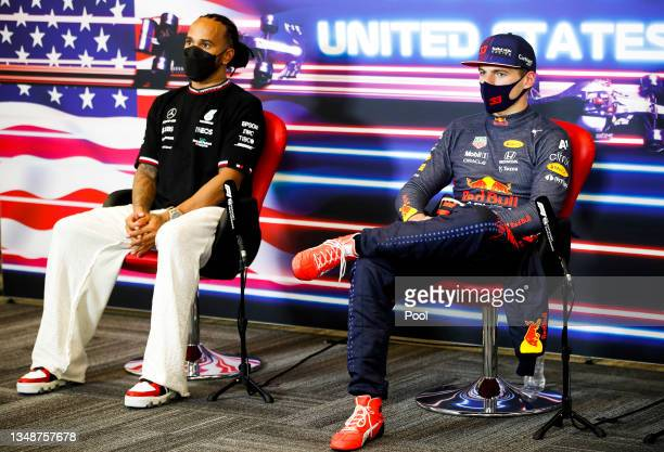 Race winner Max Verstappen of Netherlands and Red Bull Racing and second placed Lewis Hamilton of Great Britain and Mercedes GP talk in the press...
