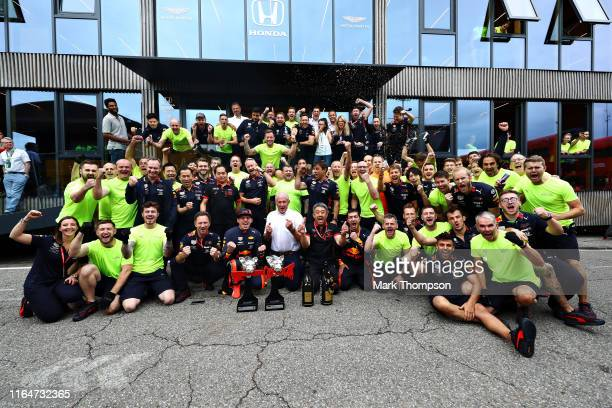 Race winner Max Verstappen of Netherlands and Red Bull Racing and the Red Bull Racing team celebrate after the F1 Grand Prix of Germany at...