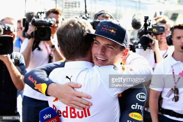 Race winner Max Verstappen of Netherlands and Red Bull Racing hugs Red Bull Racing Team Principal Christian Horner after the Formula One Grand Prix...
