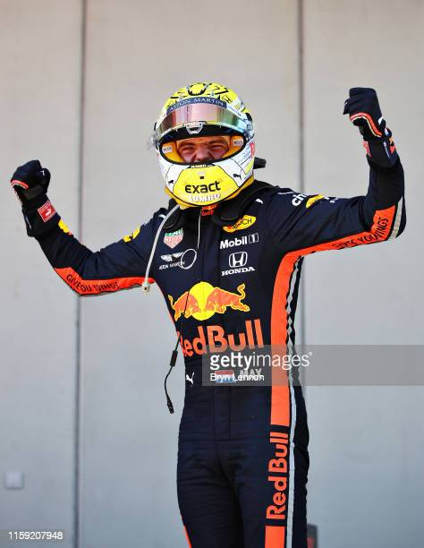 Race winner Max Verstappen of Netherlands and Red Bull Racing celebrates in parc ferme during the F1 Grand Prix of Austria at Red Bull Ring on June...