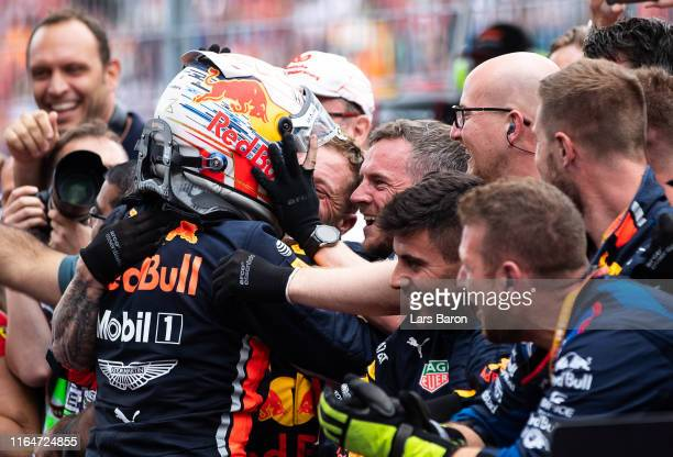 Race winner Max Verstappen of Netherlands and Red Bull Racing celebrates in parc ferme during the F1 Grand Prix of Germany at Hockenheimring on July...