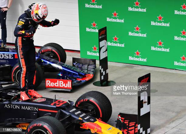 Race winner Max Verstappen of Netherlands and Red Bull Racing celebrates in parc ferme during the F1 Grand Prix of Brazil at Autodromo Jose Carlos...
