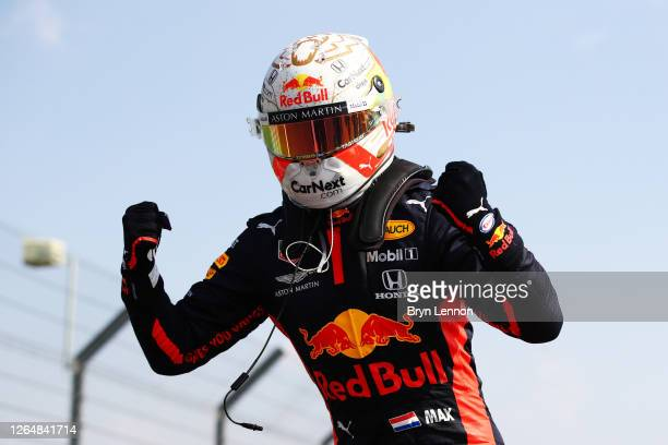 Race winner Max Verstappen of Netherlands and Red Bull Racing celebrates in parc ferme during the F1 70th Anniversary Grand Prix at Silverstone on...