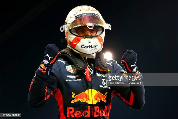 Race winner Max Verstappen of Netherlands and Red Bull Racing celebrates in parc ferme during the F1 Grand Prix of Abu Dhabi at Yas Marina Circuit on...