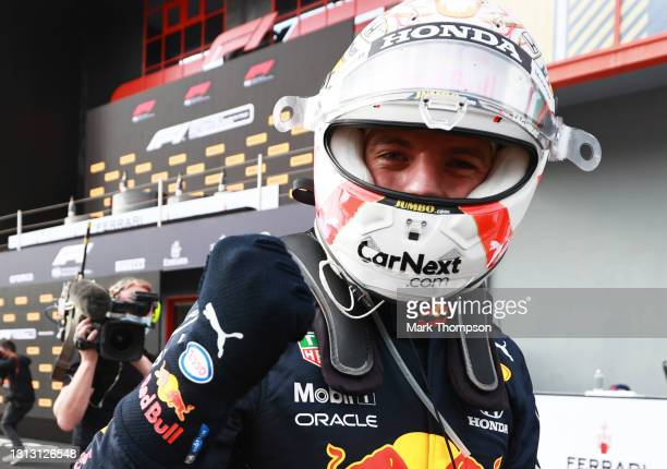 Race winner Max Verstappen of Netherlands and Red Bull Racing celebrates in parc ferme during the F1 Grand Prix of Emilia Romagna at Autodromo Enzo e...