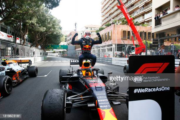 Race winner Max Verstappen of Netherlands and Red Bull Racing celebrates in parc ferme during the F1 Grand Prix of Monaco at Circuit de Monaco on May...