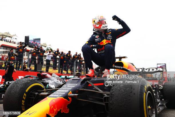 Race winner Max Verstappen of Netherlands and Red Bull Racing celebrates in parc ferme during the F1 Grand Prix of France at Circuit Paul Ricard on...