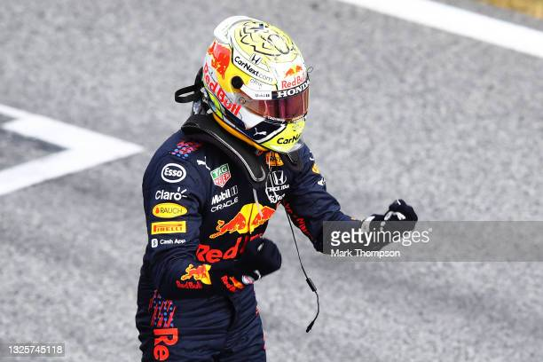 Race winner Max Verstappen of Netherlands and Red Bull Racing celebrates in parc ferme during the F1 Grand Prix of Styria at Red Bull Ring on June...