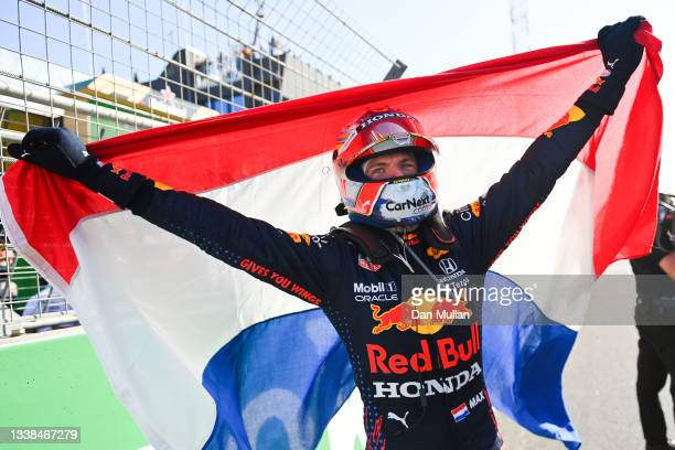 Race winner Max Verstappen of Netherlands and Red Bull Racing celebrates in parc ferme during the F1 Grand Prix of The Netherlands at Circuit...