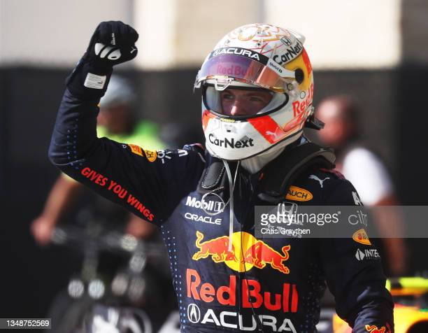 Race winner Max Verstappen of Netherlands and Red Bull Racing celebrates in parc ferme during the F1 Grand Prix of USA at Circuit of The Americas on...