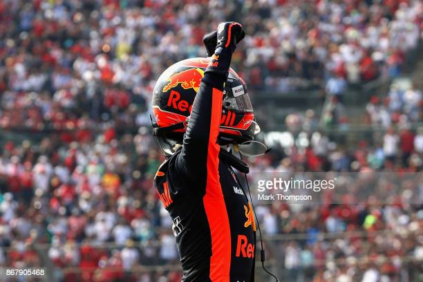 Race winner Max Verstappen of Netherlands and Red Bull Racing celebrates in parc ferme during the Formula One Grand Prix of Mexico at Autodromo...