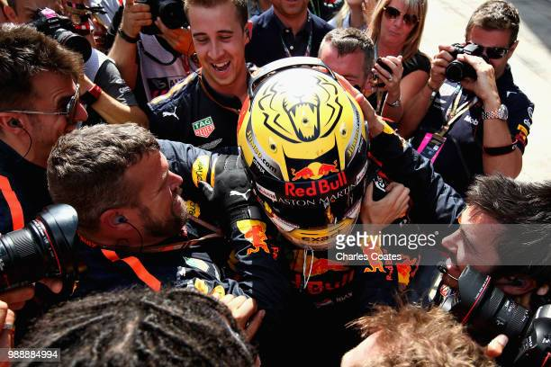Race winner Max Verstappen of Netherlands and Red Bull Racing celebrates in parc ferme during the Formula One Grand Prix of Austria at Red Bull Ring...