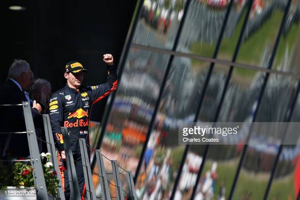 Race winner Max Verstappen of Netherlands and Red Bull Racing celebrates on the podium during the F1 Grand Prix of Austria at Red Bull Ring on June...