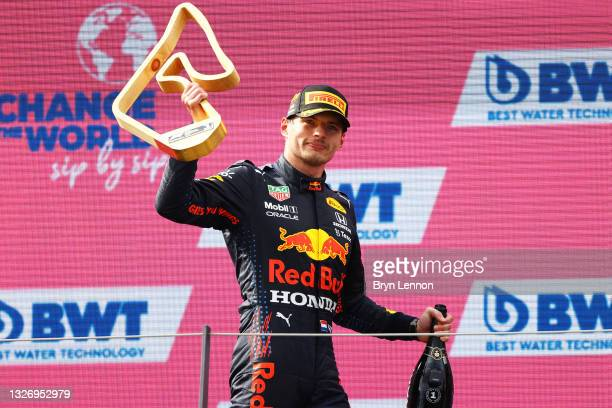 Race winner Max Verstappen of Netherlands and Red Bull Racing celebrates on the podium during the F1 Grand Prix of Austria at Red Bull Ring on July...