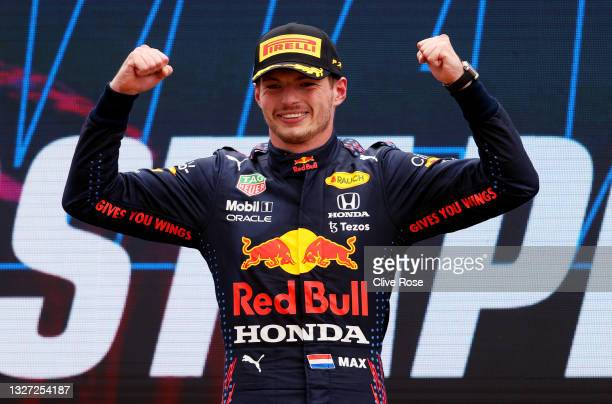 Race winner Max Verstappen of Netherlands and Red Bull Racing celebrates on the podium during the F1 Grand Prix of France at Circuit Paul Ricard on...