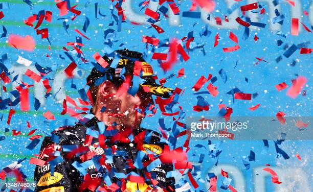 Race winner Max Verstappen of Netherlands and Red Bull Racing celebrates on the podium during the F1 Grand Prix of USA at Circuit of The Americas on...