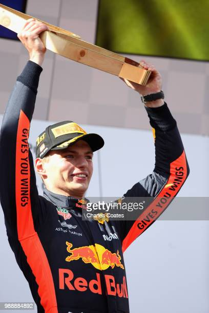 Race winner Max Verstappen of Netherlands and Red Bull Racing celebrates on the podium during the Formula One Grand Prix of Austria at Red Bull Ring...