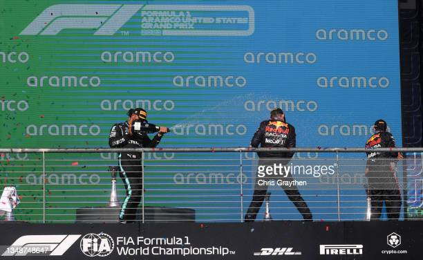 Race winner Max Verstappen of Netherlands and Red Bull Racing, second placed Lewis Hamilton of Great Britain and Mercedes GP and third placed Sergio...