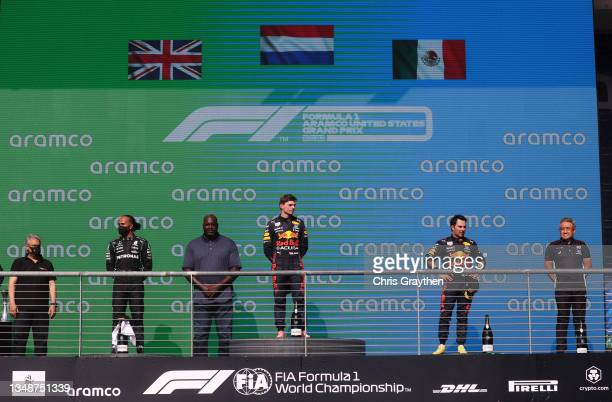 Race winner Max Verstappen of Netherlands and Red Bull Racing, second placed Lewis Hamilton of Great Britain and Mercedes GP, third placed Sergio...