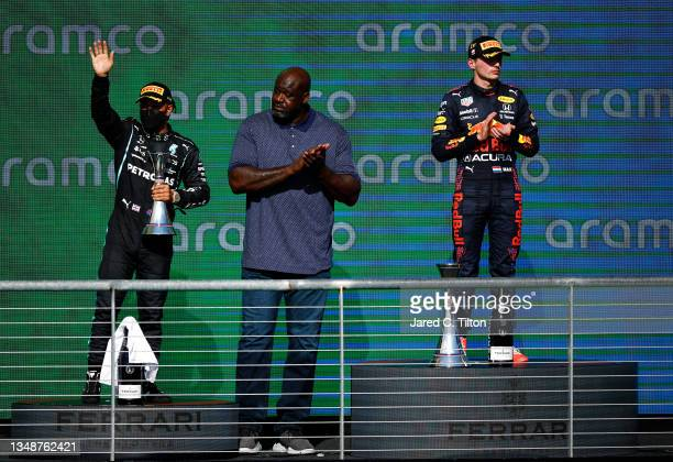 Race winner Max Verstappen of Netherlands and Red Bull Racing, second placed Lewis Hamilton of Great Britain and Mercedes GP and Shaquille O'Neal...
