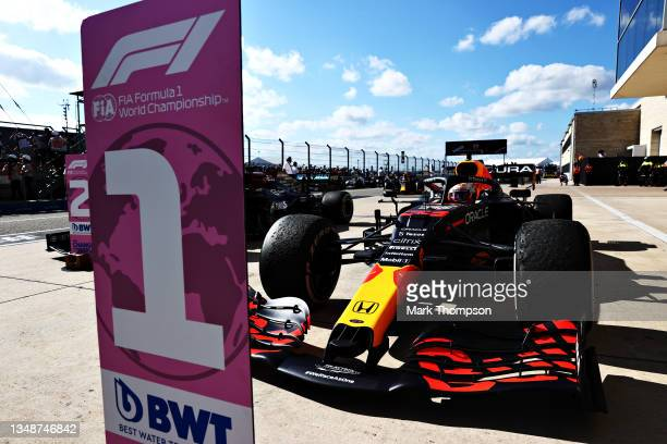 Race winner Max Verstappen of Netherlands and Red Bull Racing stops in parc ferme during the F1 Grand Prix of USA at Circuit of The Americas on...