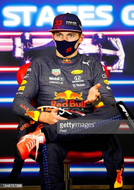 Race winner Max Verstappen of Netherlands and Red Bull Racing talks in the press conference after the F1 Grand Prix of USA at Circuit of The Americas...