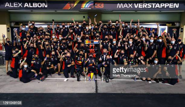 Race winner Max Verstappen of Netherlands and Red Bull Racing celebrates with his team following the the F1 Grand Prix of Abu Dhabi at Yas Marina...