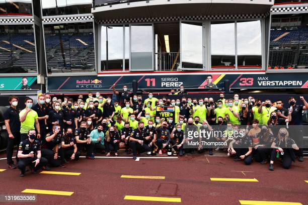Race winner Max Verstappen of Netherlands and Red Bull Racing celebrates with his team in the Pitlane after the F1 Grand Prix of Monaco at Circuit de...