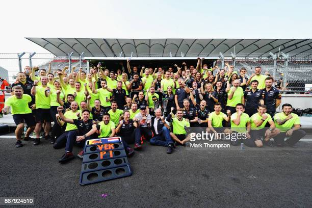Race winner Max Verstappen of Netherlands and Red Bull Racing celebrates with his team during the Formula One Grand Prix of Mexico at Autodromo...