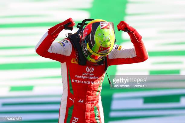 Race winner Mick Schumacher of Germany and Prema Racing celebrates in Parc ferme during the feature race for the Formula 2 Championship at Autodromo...