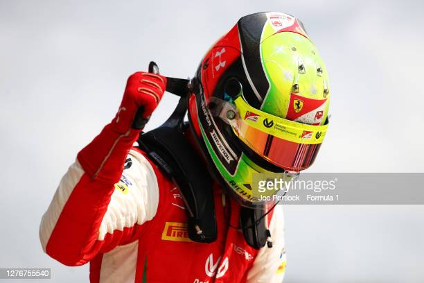 Race winner Mick Schumacher of Germany and Prema Racing celebrates in parc ferme during the Formula 2 Championship Feature Race at Sochi Autodrom on...