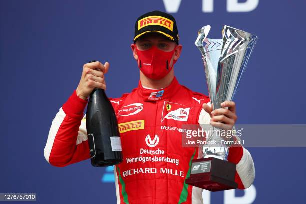 Race winner Mick Schumacher of Germany and Prema Racing celebrates on the podium during the Formula 2 Championship Feature Race at Sochi Autodrom on...