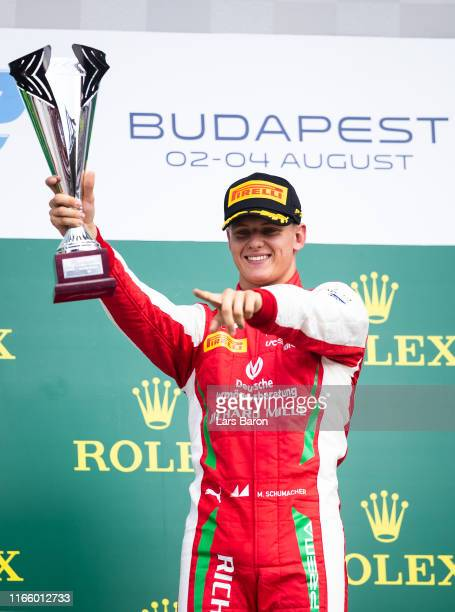 Race winner Mick Schumacher of Germany and Prema Racing celebrates during the sprint race of the Formula 2 Grand Prix of Hungary at Hungaroring on...