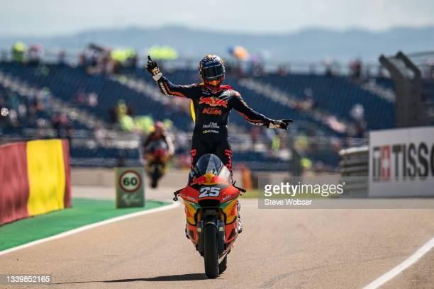 Race winner Moto2 rider Raul Fernandez of Spain and Red Bull KTM Ajo rolls into the pitlane during the race of the MotoGP Gran Premio TISSOT de...
