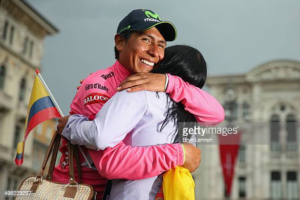 Race winner Nairo Quintana hugs his mother after winning the 2014 Giro d'Italia a 172km stage between Gemona del Friuli and Trieste on June 1 2014 in...