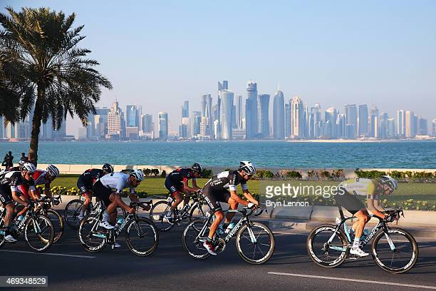 Race winner Niki Terpstra of The Netherlands and Omega Pharma-QuickStep rides in the peloton along the Doha Conrniche during the final stage of the...