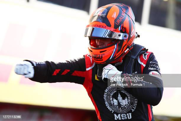 Race winner Nikita Mazepin of Russia and Hitech Grand Prix celebrates in parc ferme during the Formula 2 Championship Feature Race at Mugello Circuit...