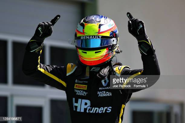 Race winner Oscar Piastri of Australia and Prema Racing celebrates in parc ferme during the feature race for the Formula 3 Championship at Red Bull...